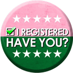 pink and green voter button