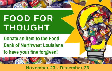 "SML ""Food for Thought"" Amnesty Days Fine Forgiveness November 23 – December 23"