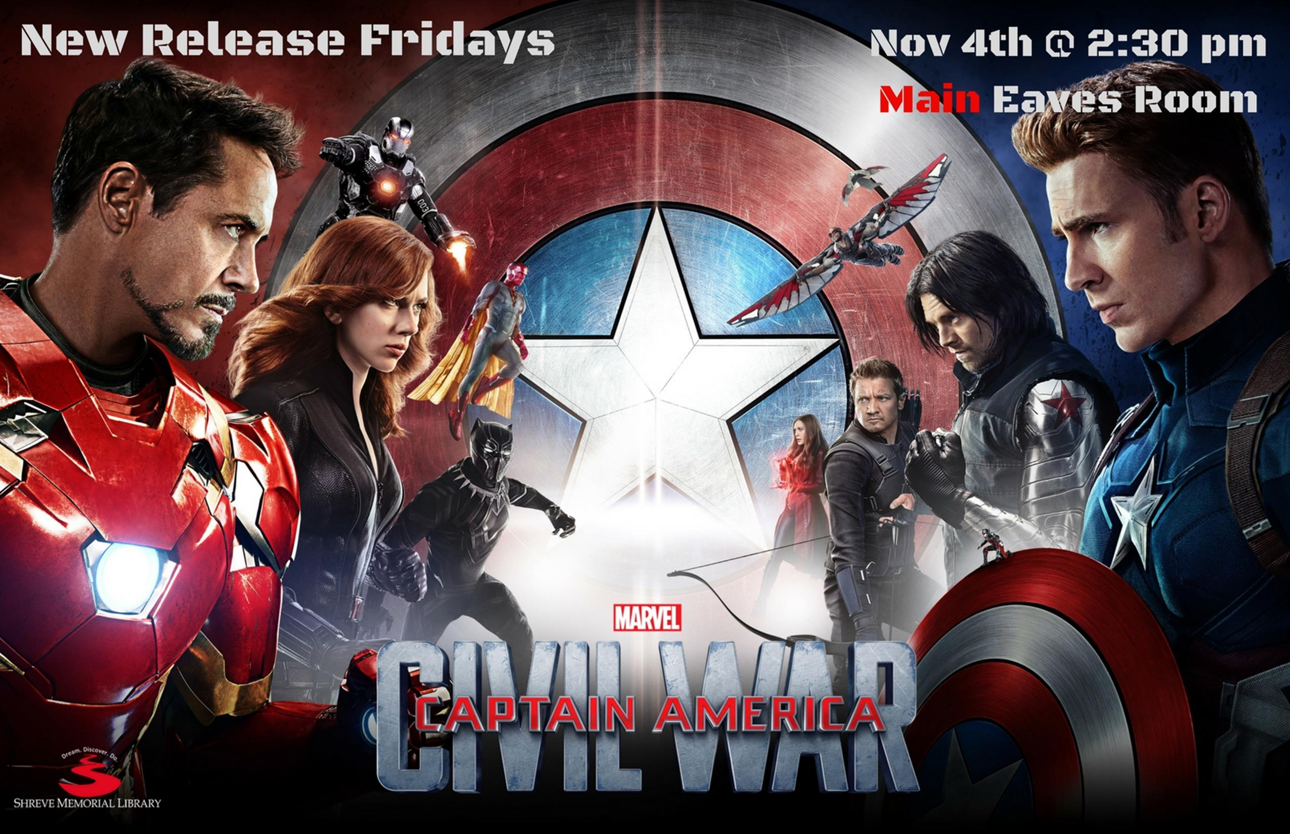 New Release Fridays: Captain America Civil War @ Shreve Memorial Library - Main Branch | Shreveport | Louisiana | United States